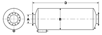 Dimensional Drawing for Model SRU Series Residential Grade Spark Arrestor Silencers (SRUE-04-980353)