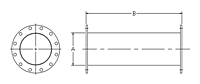Dimensional Drawing for Straight Tube ANSI Flange Both Ends Outlet Extensions