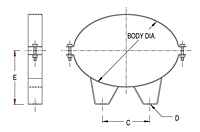 Dimensional Drawing for Model OMB Series Oval Mounting Bands