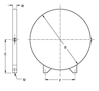 Dimensional Drawing for Model RMB Series Round Mounting Bands