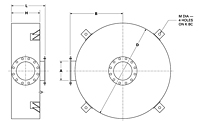 Dimensional Drawing for Model DCK2 Series Critical Grade Disk Silencers